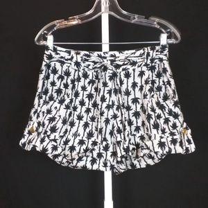 Diane Von Furstenberg Black White Palm Tree Shorts